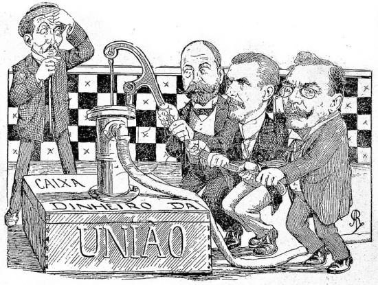 """A charge foi publicada em inícios de 1907, cujo título é """"Uma idéia do Zé para o carnaval: O Convênio de Taubaté"""". A legenda referente ao desenho é a que segue: """" TIBIRIÇÁ: - Força, rapazes! Dos seis mil contos para comprar cafés baixos, quero 2.000 para São Paulo! JOÃO PINHEIRO: - E Minas não há de ficar no - 'ora, veja'! Puxa! ALFREDO BACKER: - Quem… teve Mateus que o embale! A União é mau de todos, e o Estado do Rio é um bom filho… Aguenta! Oh! Upa! ZÉ POVO: - Xi!!! Com que gana eles dão à bomba! Que valem economias, impostos, sela à barriga, se o 'melado' corre assim para os Estados?! E nunca mais volta!… Uma idéia: vou lembrar este quadro para um carro carnavalesco; mas faço questão de ser representado… por uma besta! """""""